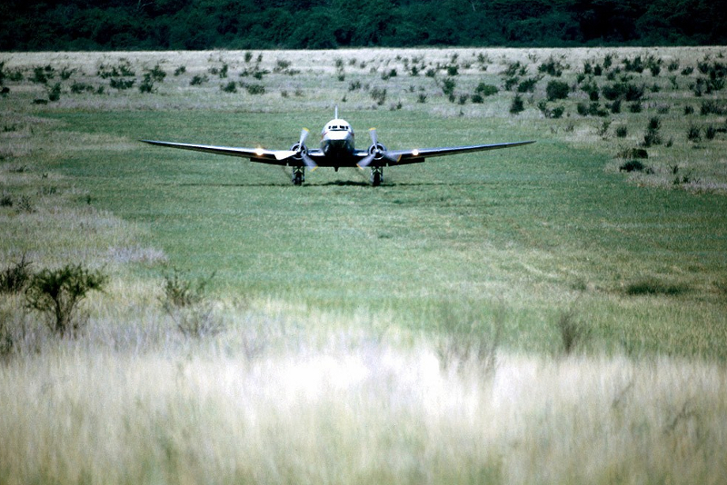 13181 ET-AAP Ethiopian Ex ET-T-2 Landing at Mui airstrip near Omo National Park in southwest Ethiopia November 1975 Christian Hanuise