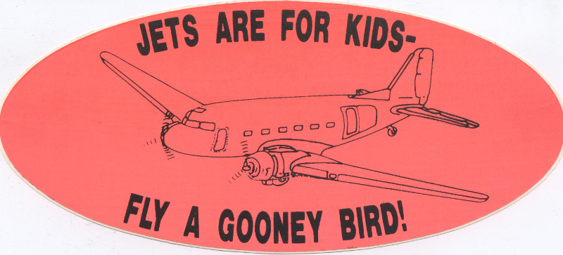 Memorabilia Sticker Jets are for Kids - fly a Gooney Bird