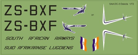 Model MAV Decals MAV-720159 South African Airways DC-3 ZS-BXF 72 scale decals
