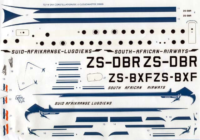 Decal Dutch Decal Cloud Master 7214 Decals for SAA DC-3 72 scale