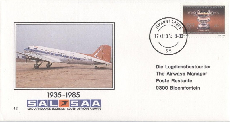 FDC SAA 42 1935-1985 with DC-3