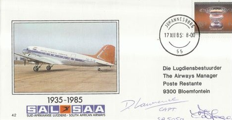 FDC SAA 42 Dave Lawrence 50 years of the DC-3